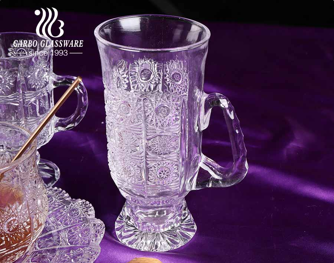 Sunflower heronsbill designs glass cups Azerbaijan tea cups and saucers