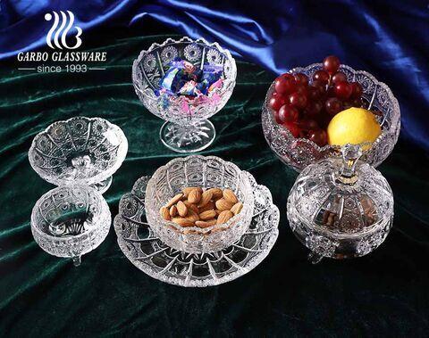 Los tarros de cristal elegantes del caramelo de Egipto de los diseños múltiples venden al por mayor el diseño del girasol del plato del caramelo de cristal
