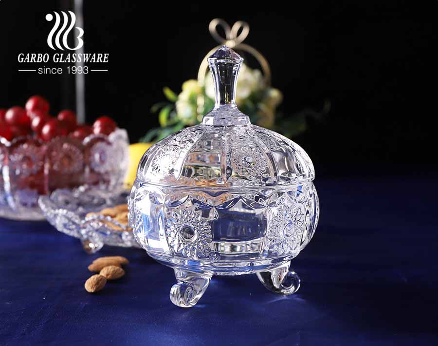 Multi designs Egypt elegant glass candy jars wholesale glass candy dish sunflower design