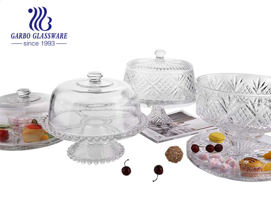 Circleware glass cake plate with dome cover and stand upside down for multifunctional
