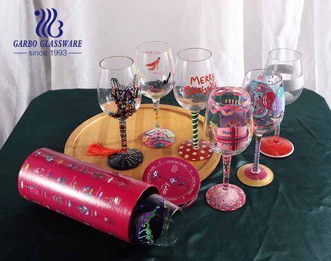 15 onças do logotipo do decalque made in China recurso ecológico dos mais vendidos Cálice de vidro revestido de ouro Logotipo personalizado personalizado vidro de vinho de várias cores