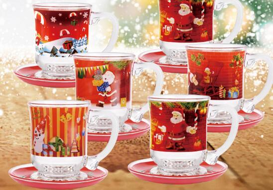 15oz glass mugs sets with full decals for christmas promotion