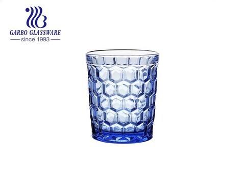 Vaso de vidrio de color sólido azul de 300 ml para jugo y agua potable, cristalería al por mayor