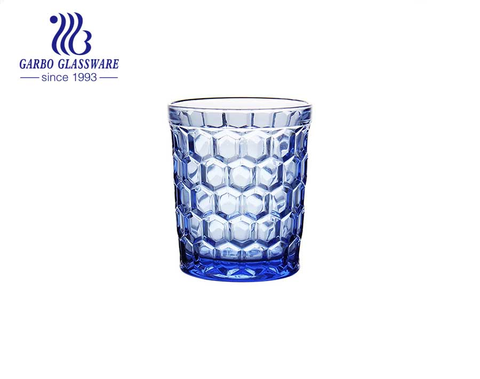 Copo de vidro de cor sólida azul de 300ml para estoque de suco e água potável por atacado