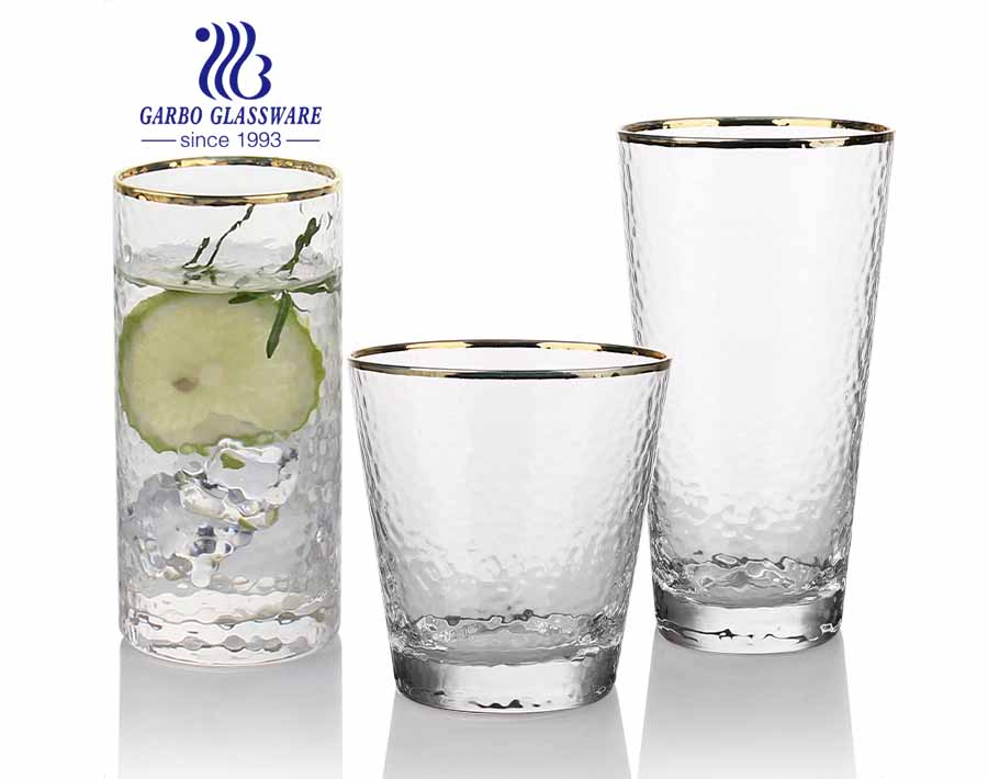 Low MOQ handmade blown glass tumblers set with hand painted gold rim
