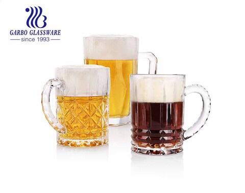 Copo de caneca de cerveja grande em relevo de 28 onças com alça para bar de festa