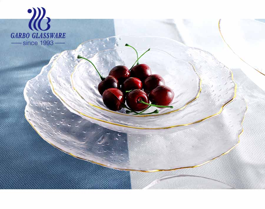 5.5 inch classic European flower pattern design high-end glass fruit plate with golden edges