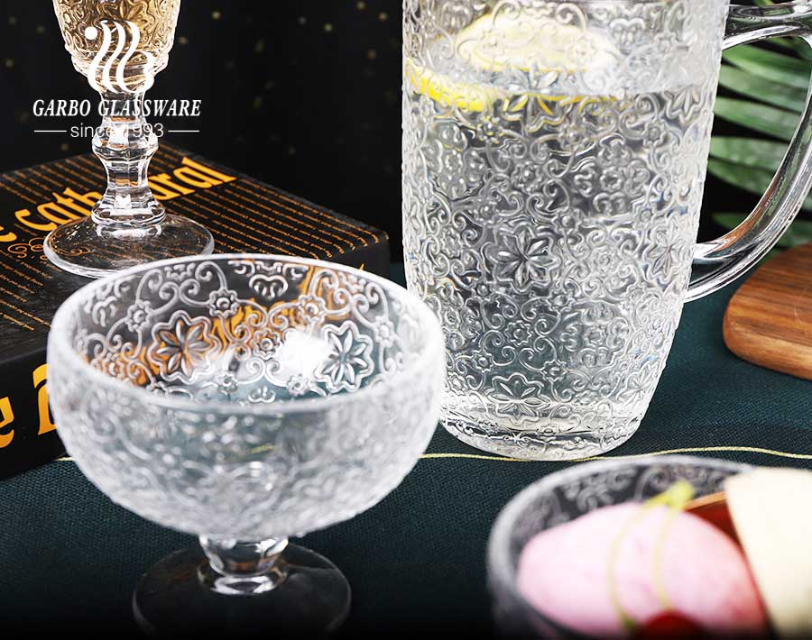 Classical engraved flower pattern glassware set goblet salad bowl jug ice cream bowl for dinner