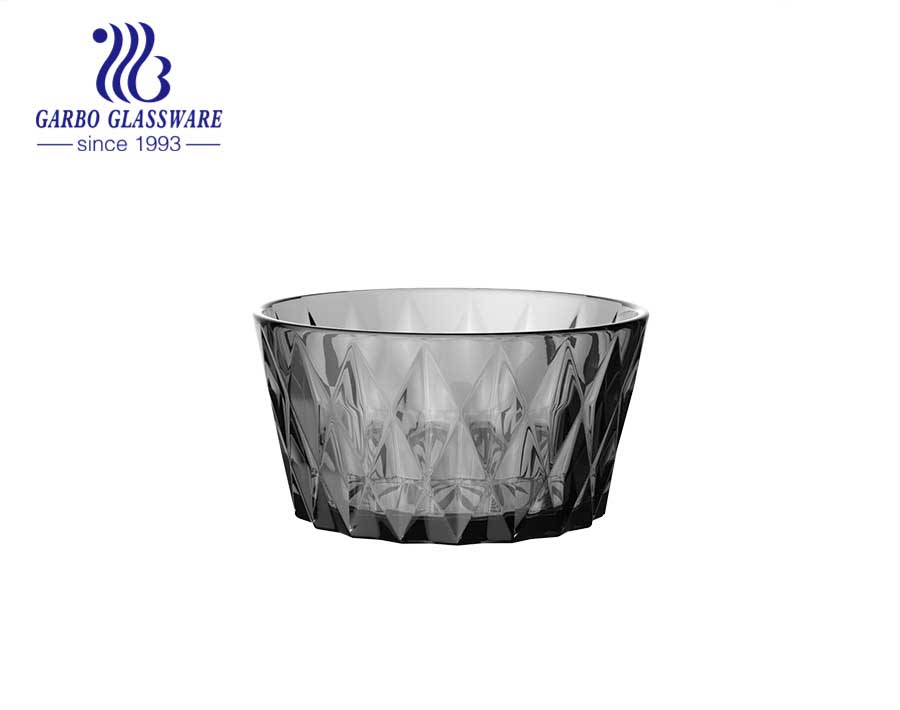 High-quality smoke gray solid color glass salad fruit bowl set engraved diamond pattern decor for dinner table