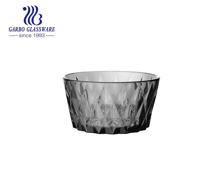 طقم صحن سلطة فواكه زجاجي بلون رمادي دخان عالي الجودة منقوش على شكل ماسي لطاولة العشاء