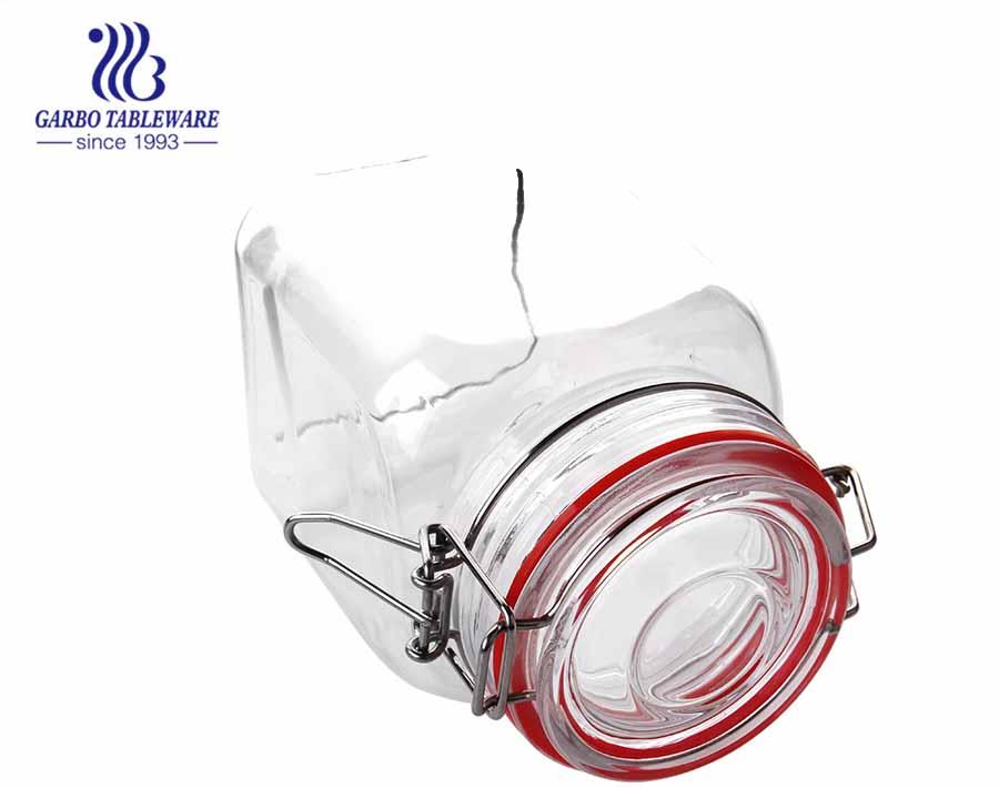 Glasbehälter für Lebensmittel mit luftdichtem, klappbarem Deckel. Dichtungssatz 3er-Set 1200 ml 1800 ml 2500 ml