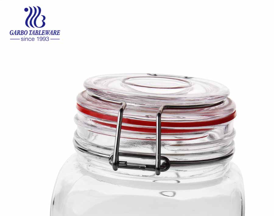 Glass food storage jars with airtight hinged lids proof gasket set of 3 1200ml 1800ml 2500ml