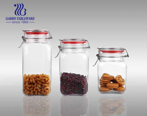 Tarros de almacenamiento de cocina de bote de vidrio transparente de 1.2L con tapa de abrazadera con bisagras