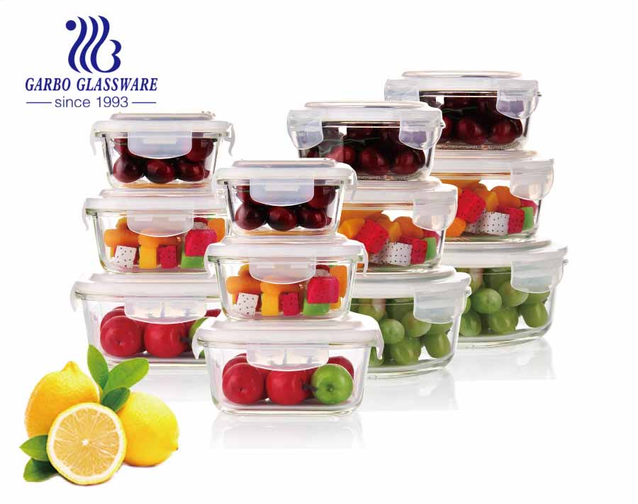1.2L Square Big Glass lunch boxes with color silicone lids water proof