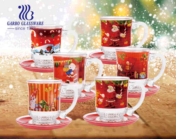 Christmas gifts glass coffee mugs personalized designs glass cups with handle