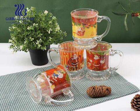 Canecas de vidro para presentes de Natal designs personalizados copos de vidro com alça