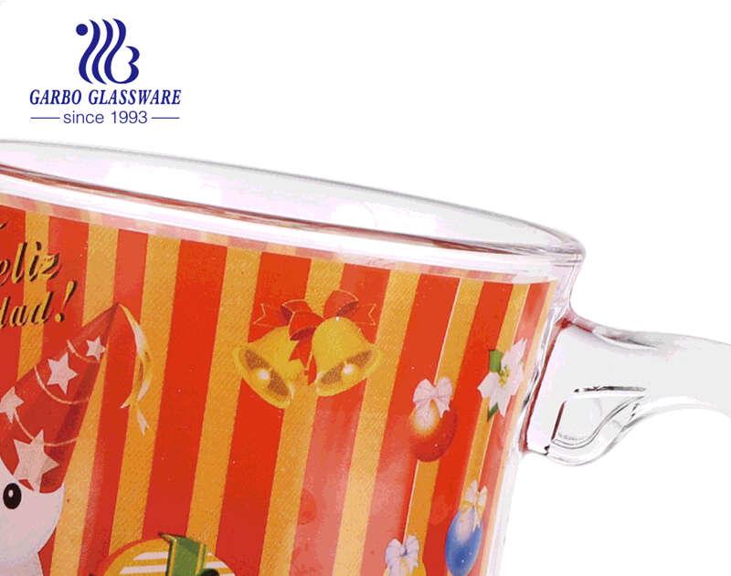 Regalos de navidad tazas de café de cristal diseños personalizados tazas de cristal con asa