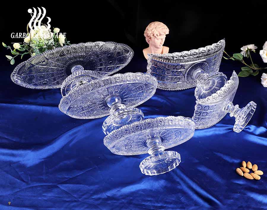 12 inch sunflower design crescent shaped glass fruit bowl with foot