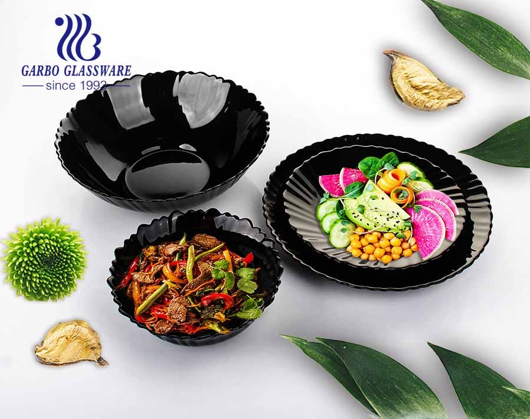 China al por mayor fabrica platos de postre de ópalo negro de 7.5 pulgadas