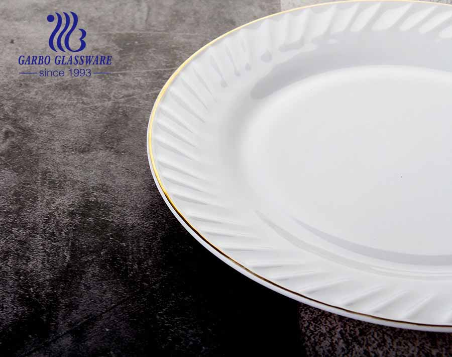 11 inch Flat white Opal tempered Glass Plates for Dinner Party or Wedding