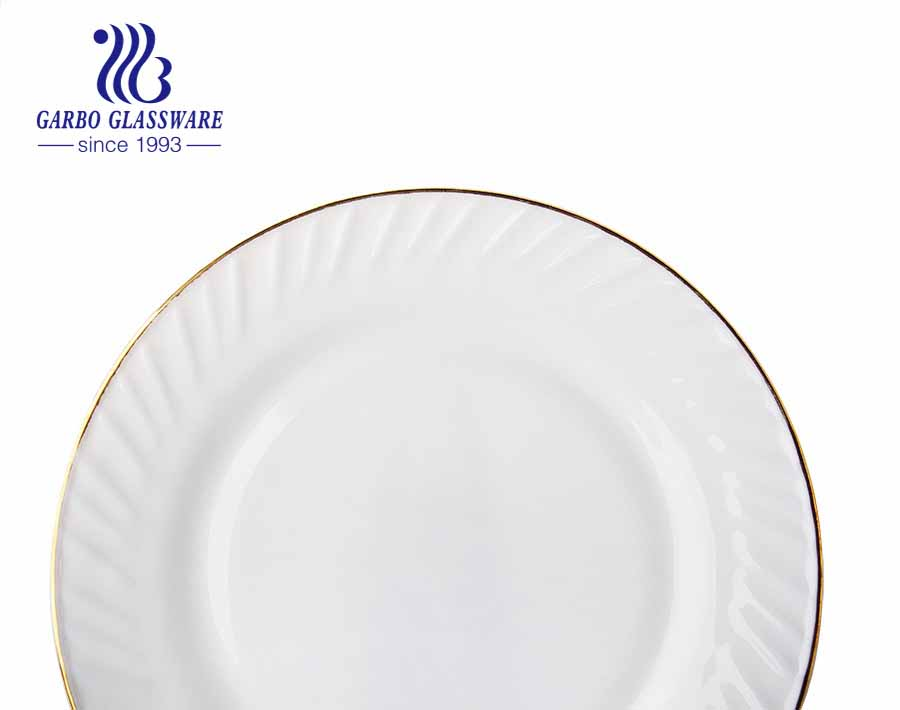 Placas de vidro temperado opala branco plano de 11 polegadas para jantar ou casamento