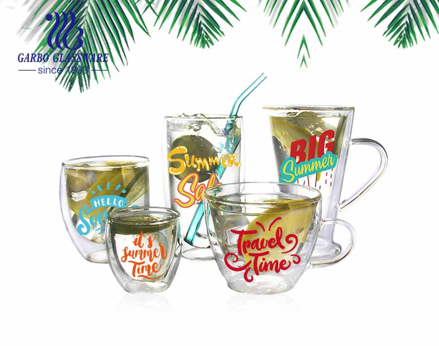 CE/EU certification insulated solid color durable double insulated borosilicate glass cup cold drinks printing logo borosilicate glass mug