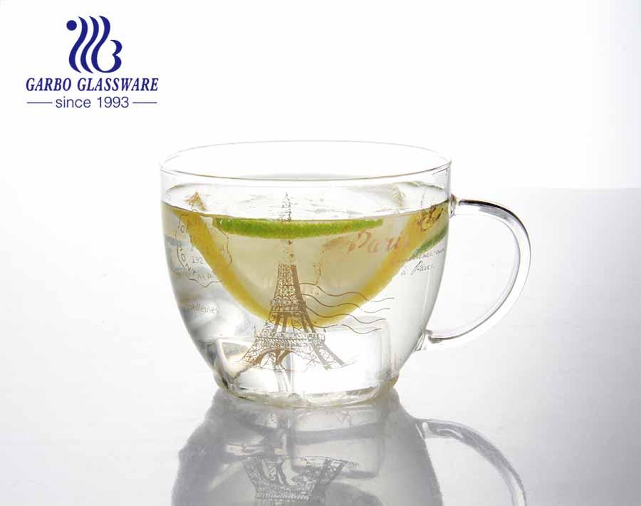 Certificación CE / UE con aislamiento de color sólido duradero con doble aislamiento taza de vidrio de borosilicato bebidas frías logotipo de impresión taza de vidrio de borosilicato
