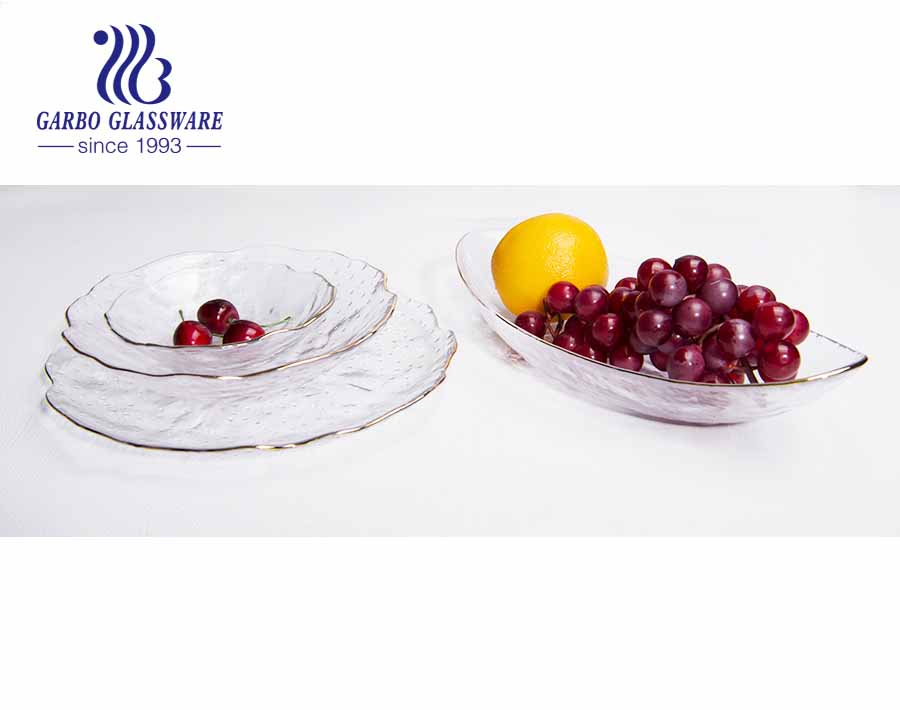 18-inch European Simple Oval pattern design high-end elegant glass fruit plate with golden rim