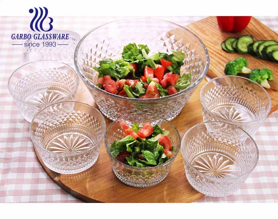 Garbo new design 7 pcs glass salad fruit bowl set with engraved classical pattern for dinner table