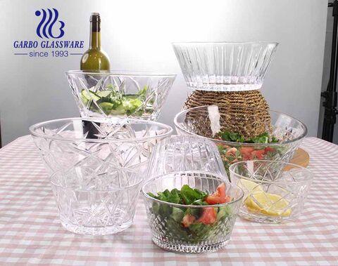 Garbo neues Design 7 Stück Glassalat Obstschale mit graviertem klassischen Muster für Esstisch