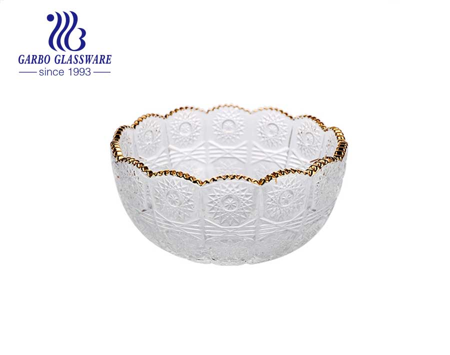 Garbo purple elegant flower wave shape glass salad bowl with decorative rim for home hotel use