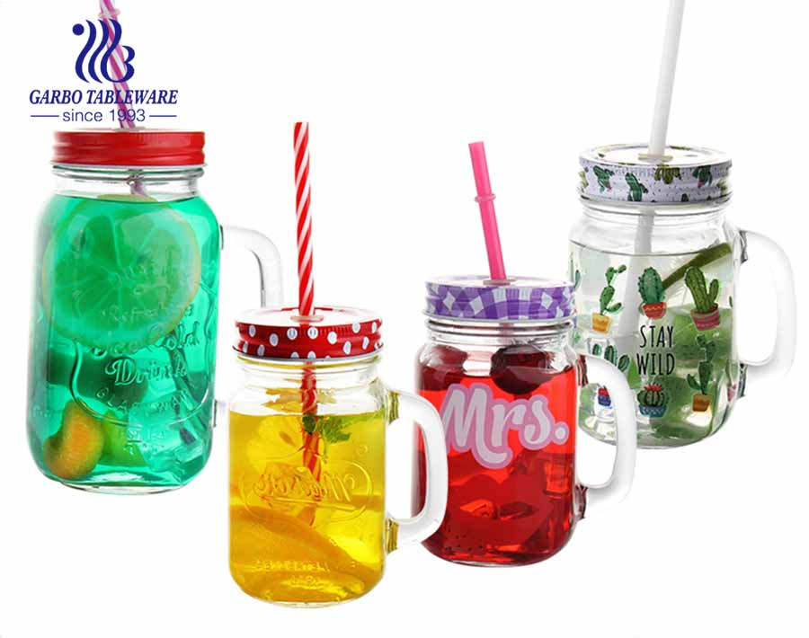 Old fashion glass mason jar drinking glasses with customized logo handle and lid