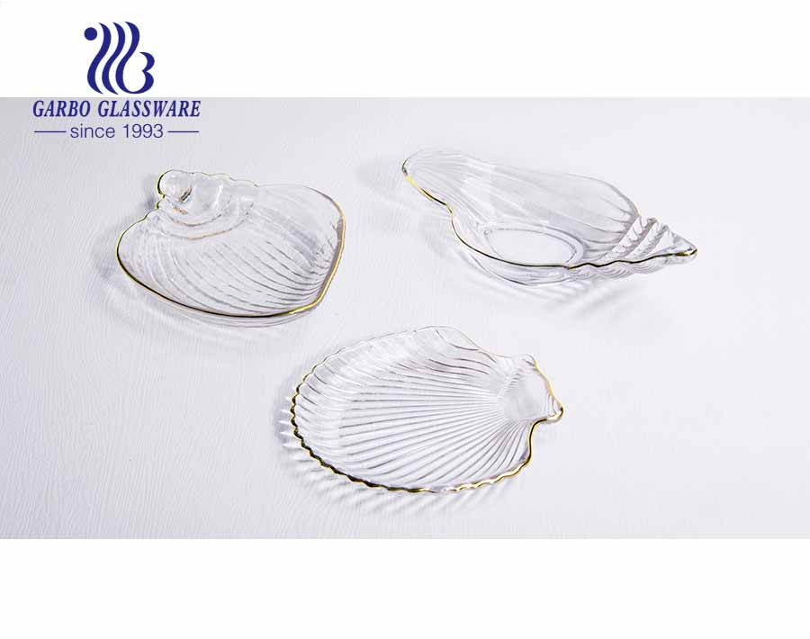 12-inch European simple style conch design luxury glass fruit plate with real gold stroke