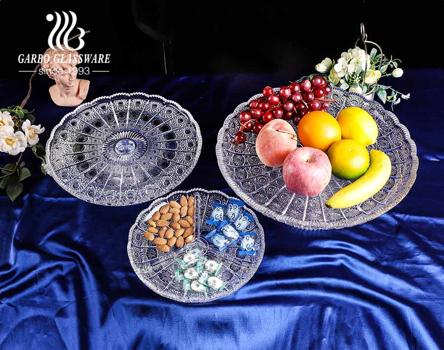 sunflower design round-shaped 12-inch glass fruit bowl with foot and dividers