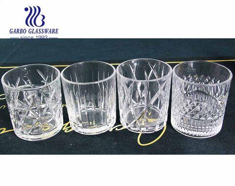 Hot Sale 11oz kurze Whiskygläser Set mit 4 geprägten Designs