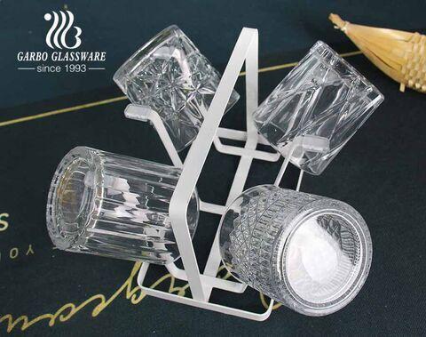 Venta caliente 11oz vasos de whisky cortos conjunto de 4 diseños en relieve
