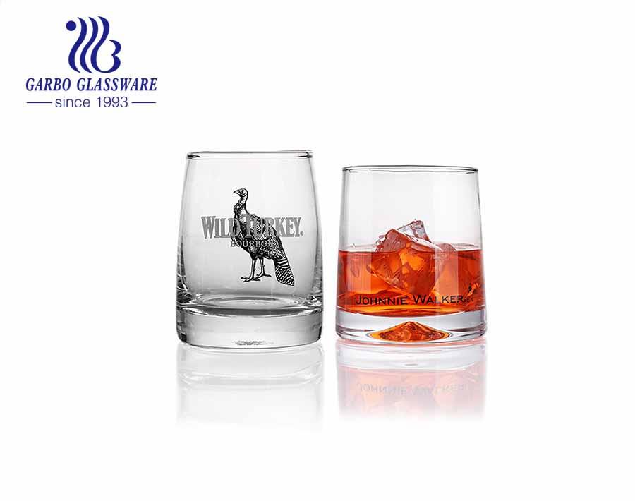Scotch whiskey glass tumbler with luxury customized artwork logo