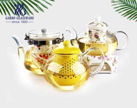 24.6oz high quality borosilicate glass tea pot with good price promotional food grade glass tea pot