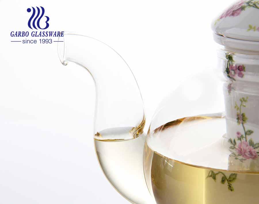 Tetera de vidrio de borosilicato de alta calidad de 24.6 oz con tetera de vidrio promocional de grado alimenticio a buen precio