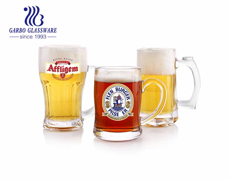 Custom beer glasses clear beer mugs large stein handled glass for pub