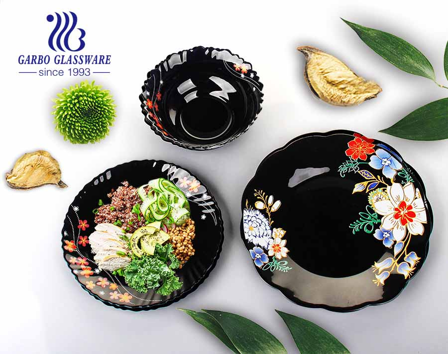 9 inch black tempered opal glass mixing bowls with decal flower for microwave safe