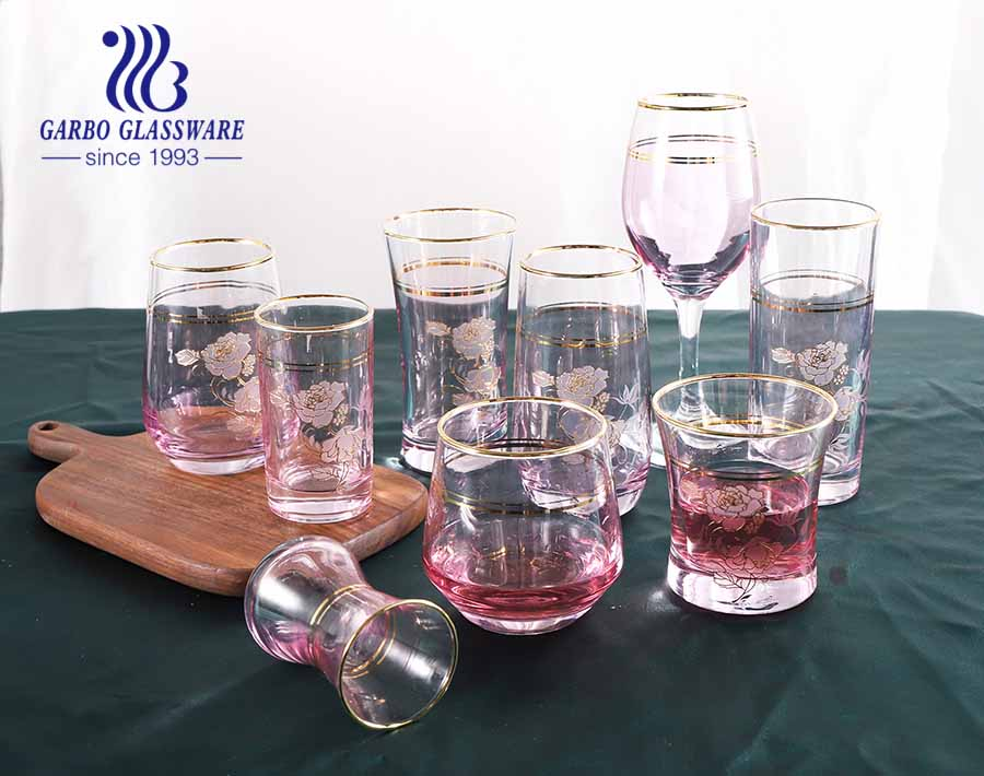 Pink Light Modern Style Glassware Set with Golden Rim Glass Coffee Cup Water Tumbler Goblet for Hotel
