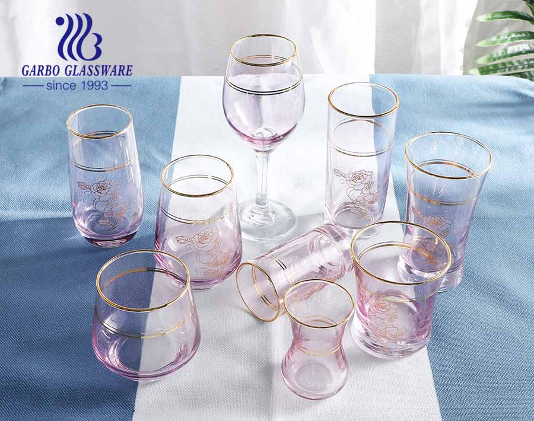 Pink Light Modern Style Glaswaren Set mit goldenem Rand Glas Kaffeetasse Wasserbecher Becher für Hotel
