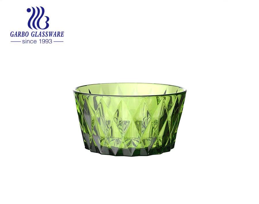 Cuenco de helado de ensalada de color sólido con diseño de diamante verde oliva vintage clásico con precio al por mayor para la cena en casa del hotel