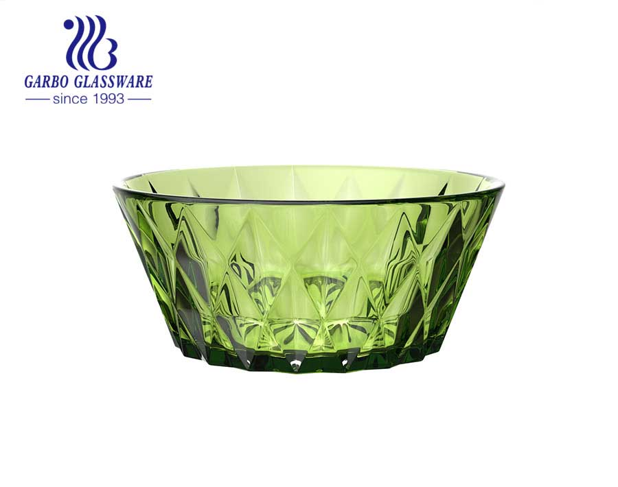Classical vintage olive green diamond design solid color salad ice cream bowl with wholesale price for hotel home dinner