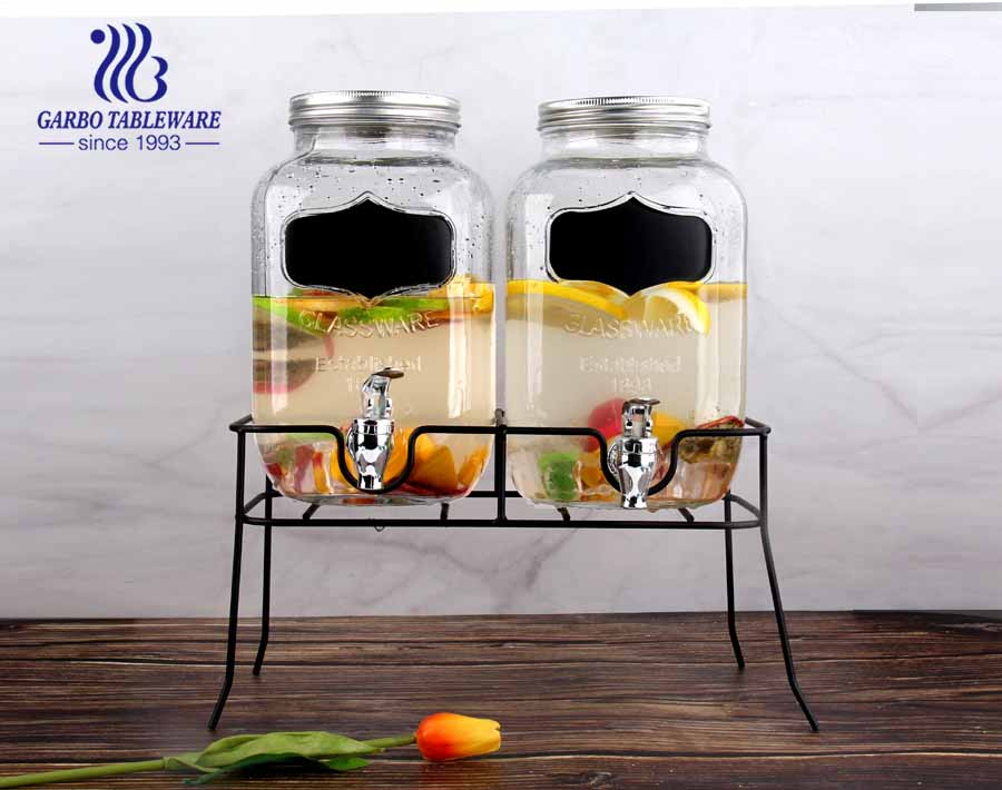 Hot sale 5L juice and beer drinking glass dispenser for hotel and restaurant using witn stainless steel stand