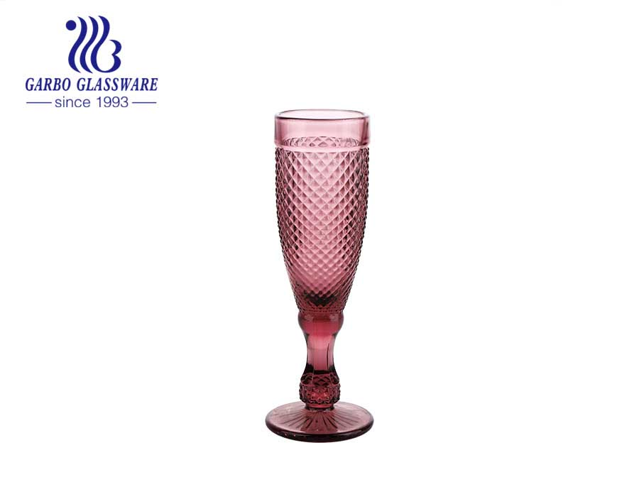 150ml diamond design high quality glass goblet for champagne drinking wedding glassware