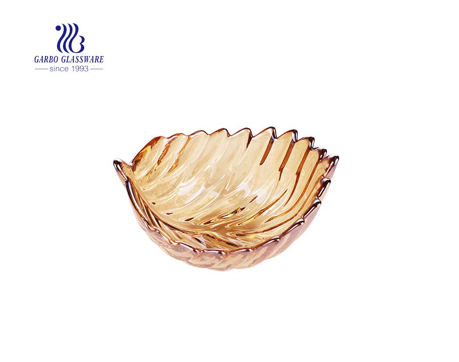 popular middle size 7 inches feather design glass fruit bowl with ion plating amber color