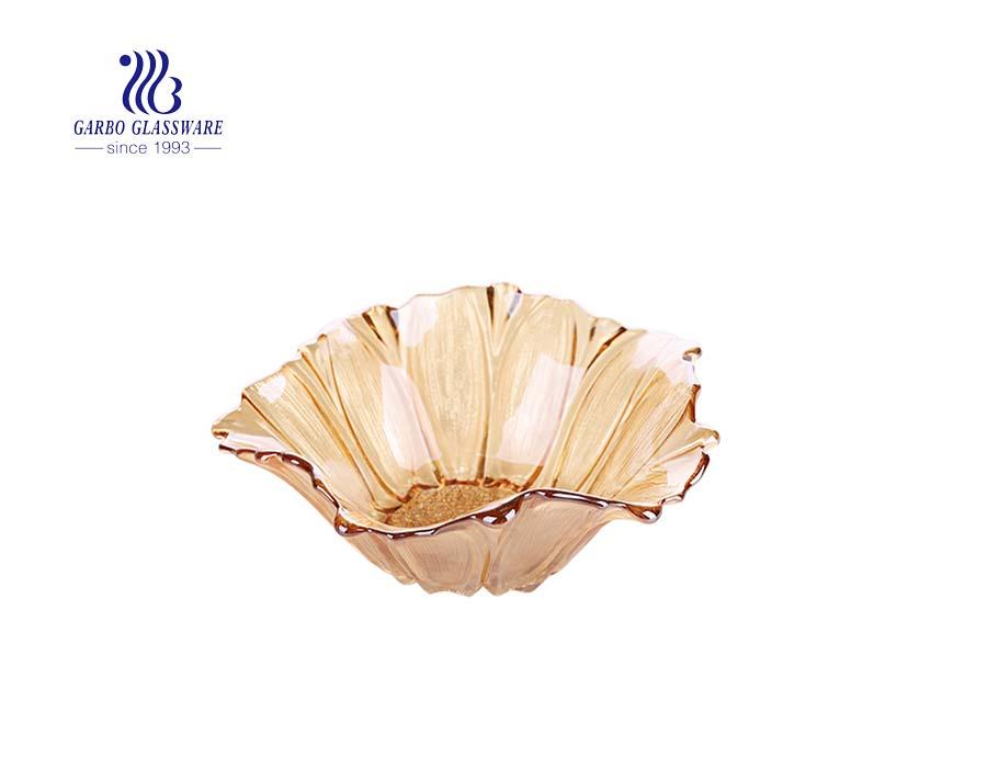 popular tazón de fruta de vidrio con diseño de plumas de 7 pulgadas de tamaño mediano con revestimiento de iones de color ámbar