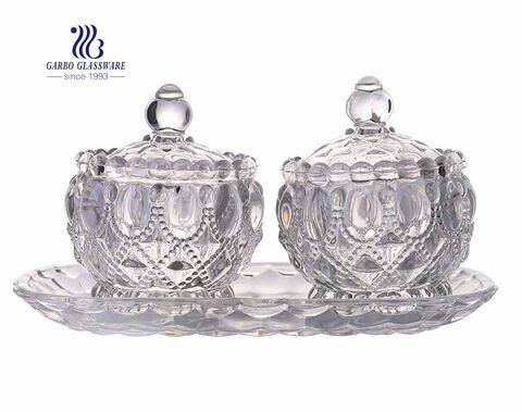 Juego de tazón de vidrio para dulces de estilo indio de 3 piezas con plato para decoración y almacenamiento del hogar